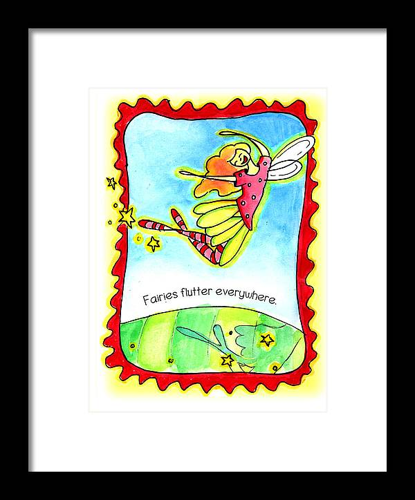 Fairy Flutters Framed Print featuring the mixed media Fairies Flutter Everywhere by Nada Meeks