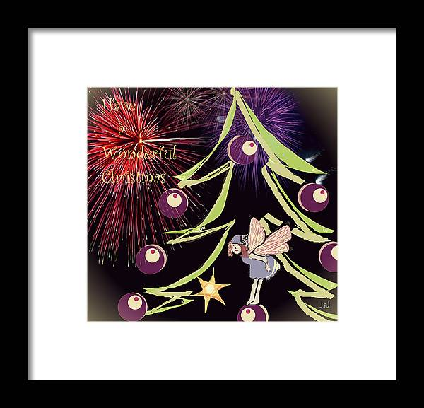 Digital Art Framed Print featuring the digital art Fairy Christmas by Jan Steadman-Jackson