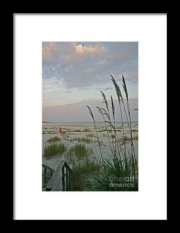 Seaoats Framed Print featuring the photograph Fairytale Moon  and poem included by Beebe Barksdale-Bruner