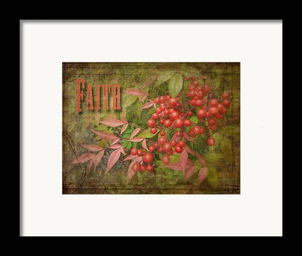 Cindy Framed Print featuring the photograph Faith Spring Berries by Cindy Wright
