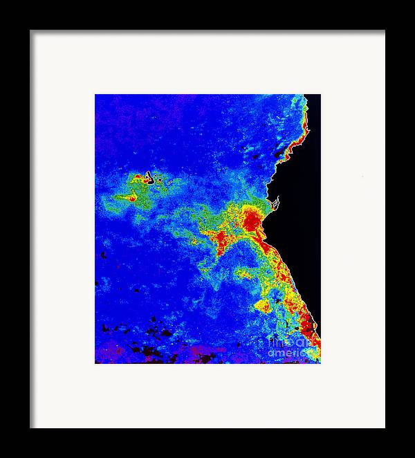 Phytoplankton Framed Print featuring the photograph Fal-col Satellite Image Of Coastal by Dr. Gene Feldman, NASA Goddard Space Flight Center