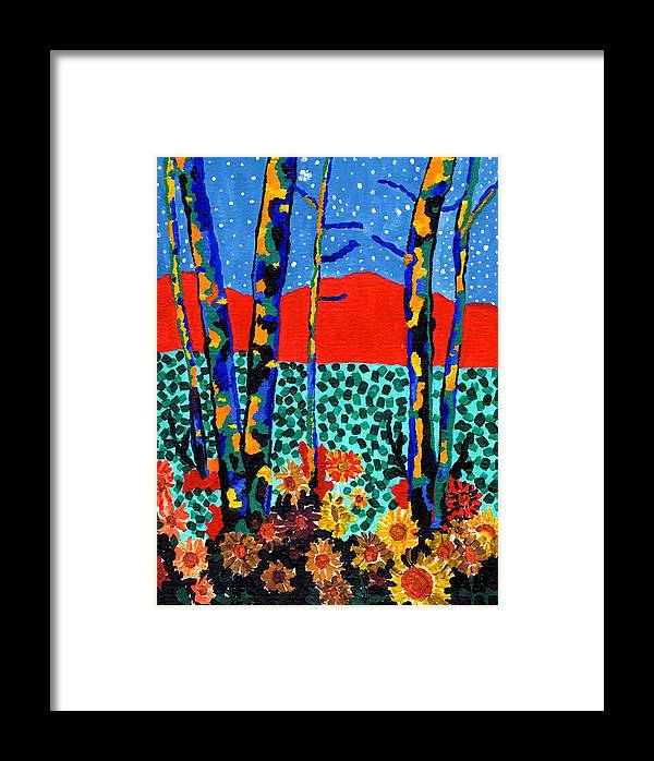 Aspens Trees Framed Print featuring the painting Fall Aspens by Connie Valasco