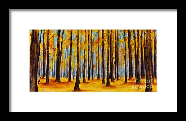 Framed Print featuring the painting Fall Forest by Scott Alberts