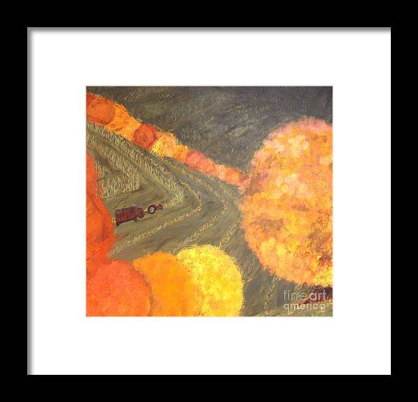 Farm Framed Print featuring the painting Fall Harvest by Erin Mikels
