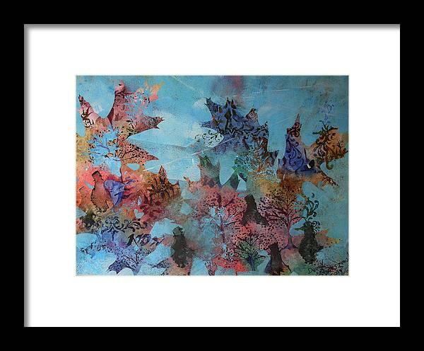 Fall Oaks Acorns Blue Framed Print featuring the painting Fall Oaks by David Ignaszewski