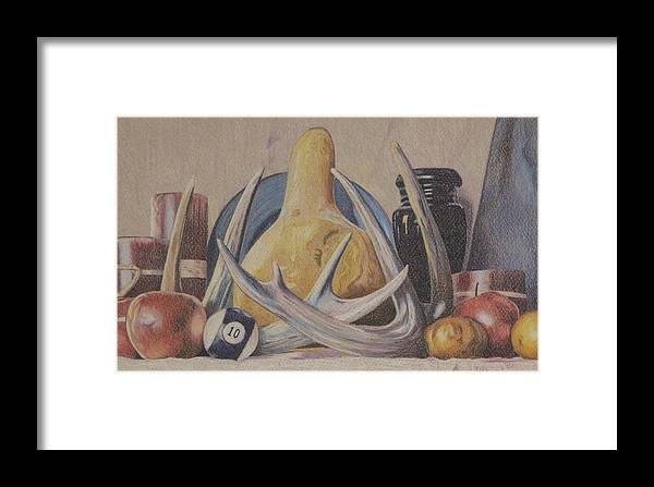 Still Life Framed Print featuring the painting Fall Still Life With Antlers by Robert Decker