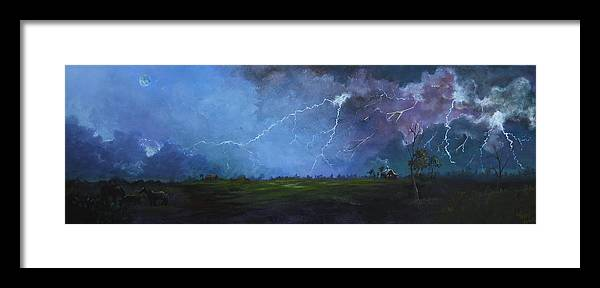 Leslie Framed Print featuring the painting Fall Storm by Leslie Hoops-Wallace