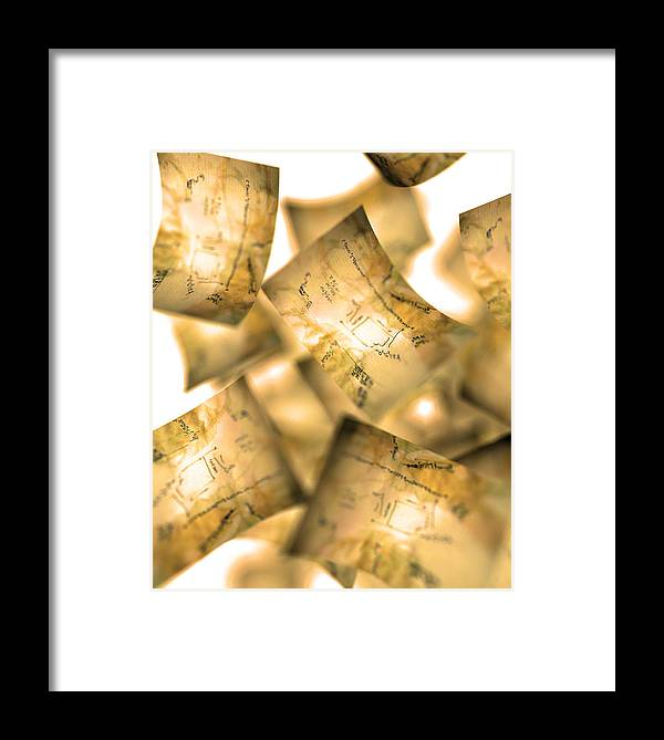 Documents Framed Print featuring the photograph Falling Paper Documents, Artwork by Christian Darkin