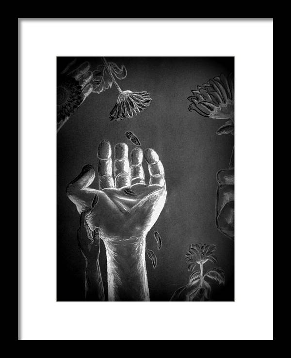 Hands Framed Print featuring the painting Falling Petals by Tifanee Petaja