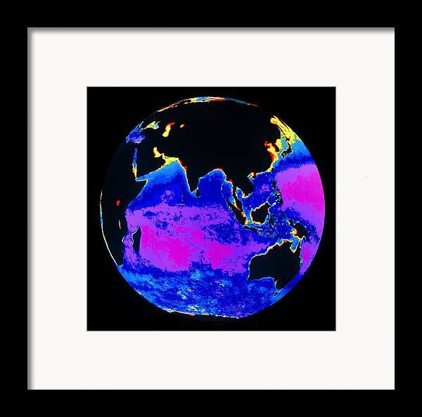 Phytoplankton Distribution Framed Print featuring the photograph False Colour Image Of The Indian Ocean by Dr Gene Feldman, Nasa Gsfc