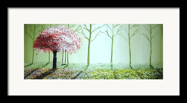 Fantasy Framed Print featuring the painting Fantasy Garden by Edwin Alverio