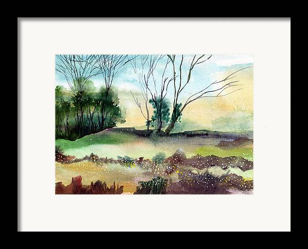 Tree Framed Print featuring the painting Far Beyond by Anil Nene