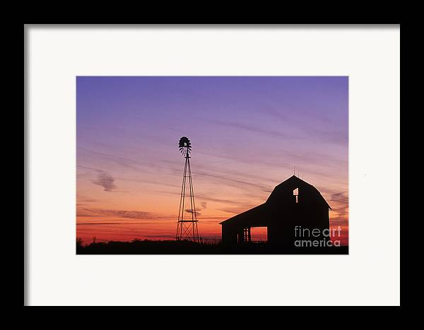 Farm Framed Print featuring the photograph Farm At Sunset by David Davis and Photo Researchers