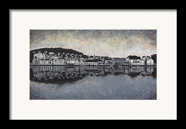 Seascape Framed Print featuring the drawing Farsund Waterfront by Janet King