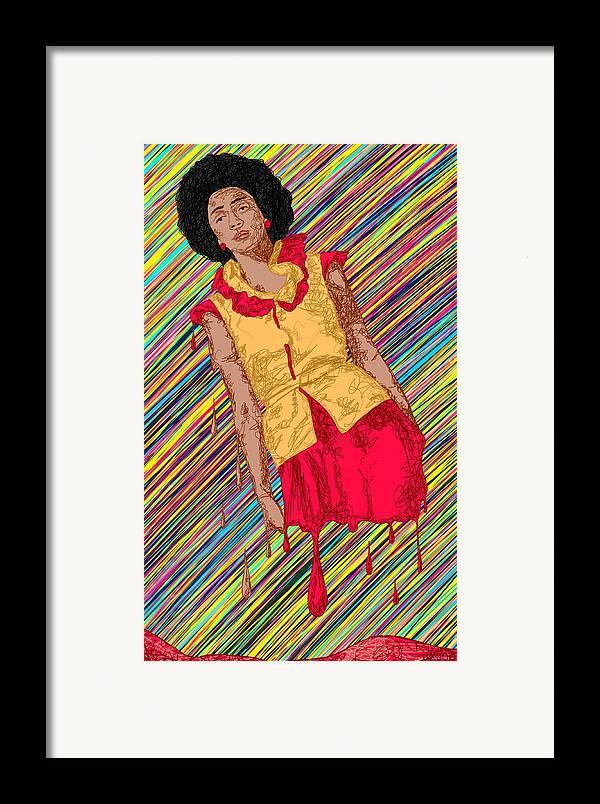 Fashion Abstraction De Fella Framed Print featuring the painting Fashion Abstraction De Fella by Kenal Louis
