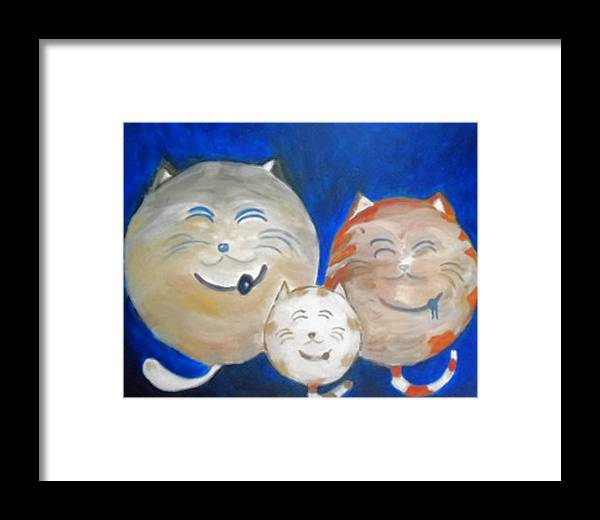 Cat Art Framed Print featuring the painting Fat Cat Family by Marian Hebert