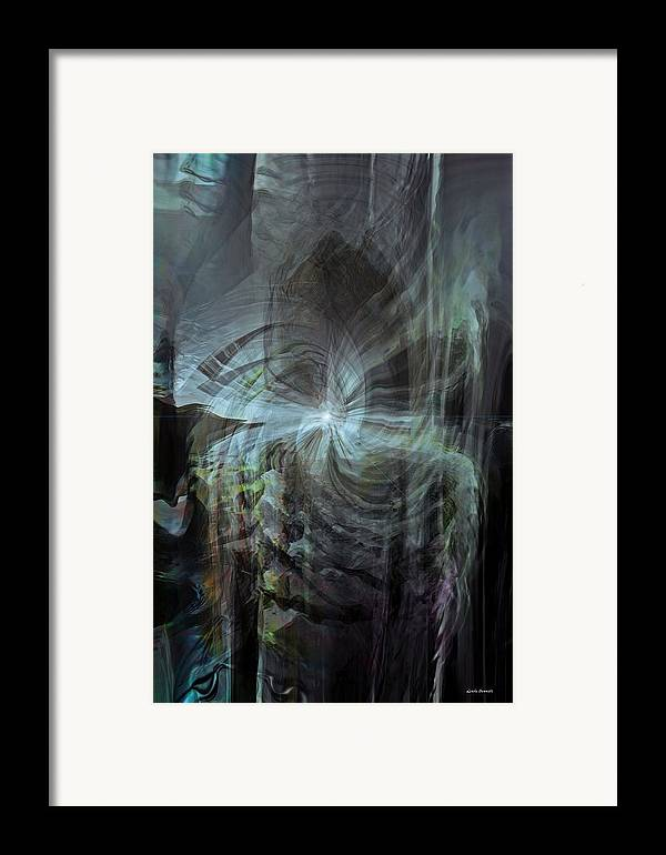 Abstract Framed Print featuring the digital art Fear Of The Unknown by Linda Sannuti