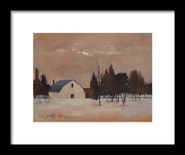 Landscape Framed Print featuring the painting February by Rick Jamison