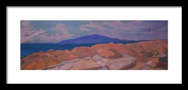 Maine Framed Print featuring the painting Feel The Rock Flow by Francine Frank