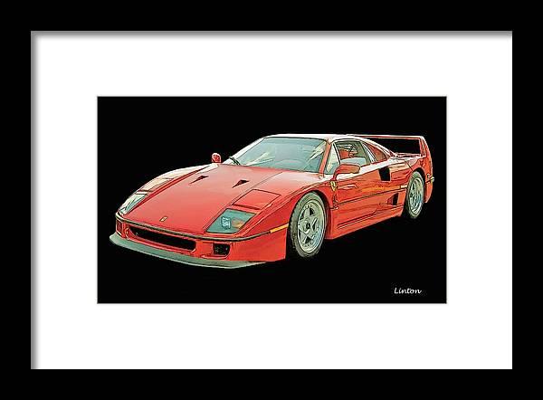Ferrari Framed Print featuring the digital art Ferrari Sketch by Larry Linton