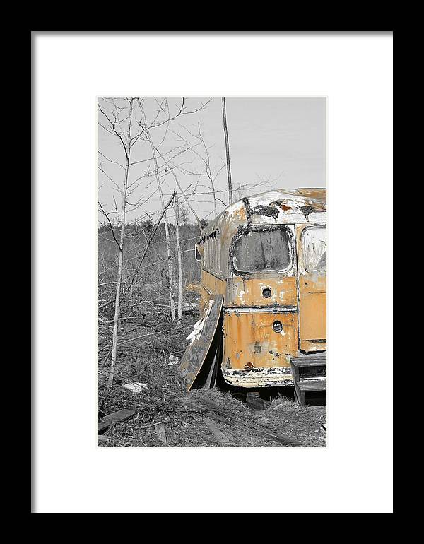 Black And White Photograph. Bus Photo Framed Print featuring the photograph Field Of Broken Dreams by James Johnson