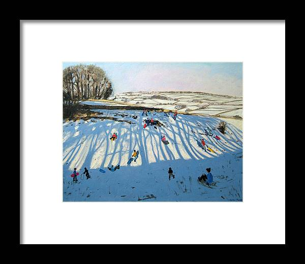 Sledging Framed Print featuring the painting Fields Of Shadows by Andrew Macara