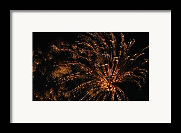 Fireworks Framed Print featuring the photograph Fiery by Rhonda Barrett