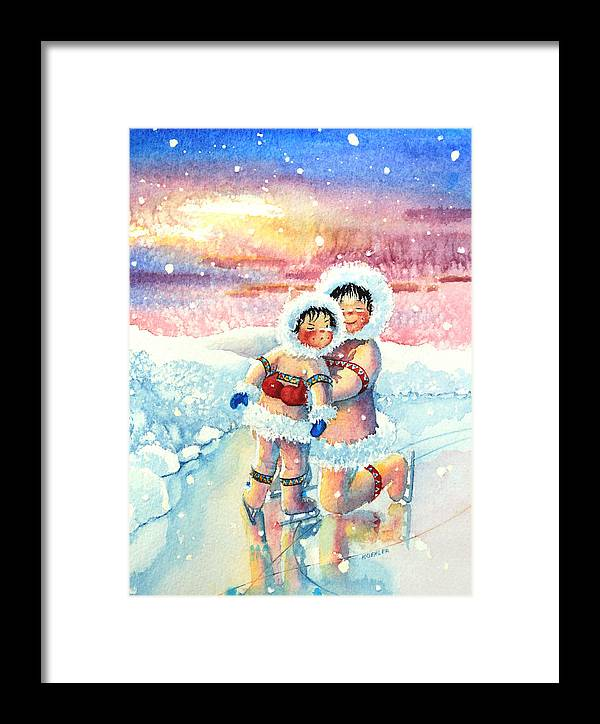 Childrens Book Illustrator Framed Print featuring the painting Figure Skater 7 by Hanne Lore Koehler