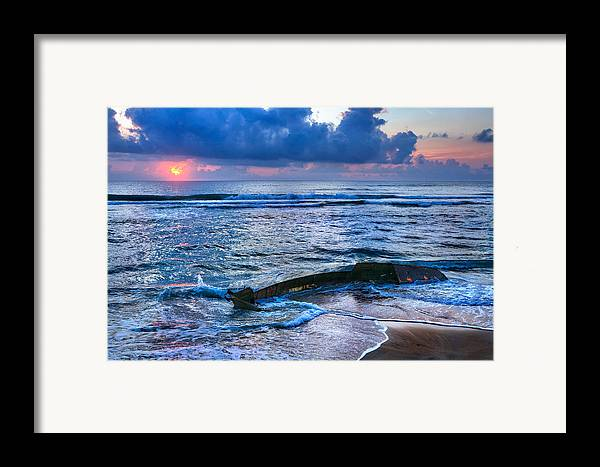 Outer Banks Framed Print featuring the photograph Final Sunrise - Beached Boat On The Outer Banks by Dan Carmichael