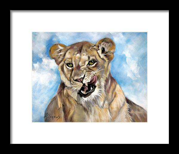 Lioness Framed Print featuring the painting Finger Lickin Good by Rae Andrews