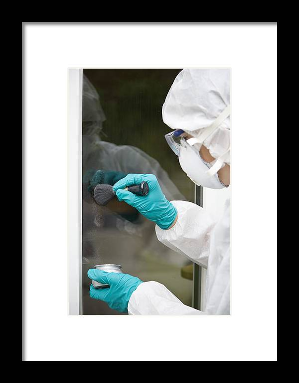 Window Framed Print featuring the photograph Fingerprint Dusting by Paul Rapson