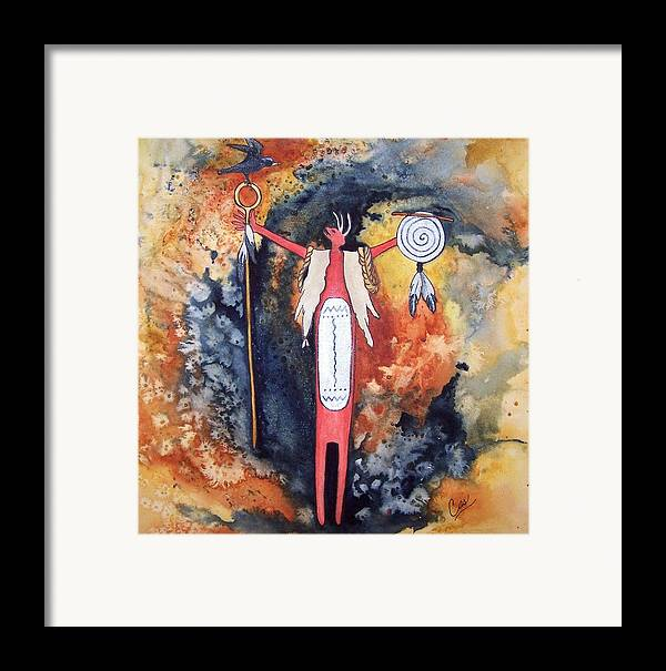 Southwest Framed Print featuring the painting Fire And Brimstone by Karen Casciani