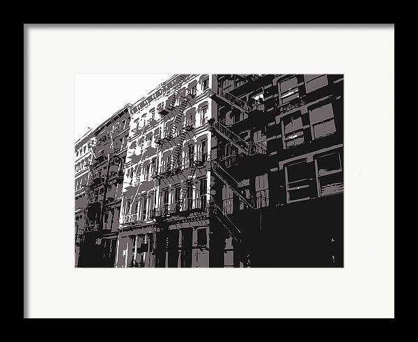New York City Fire Escapes Framed Print featuring the photograph Fire Escapes Bw3 by Scott Kelley