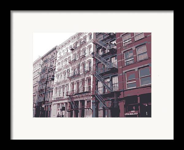 New York City Fire Escapes Framed Print featuring the photograph Fire Escapes Color 6 by Scott Kelley