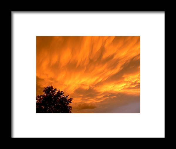 Photography Sunset Sky Fire Hot Fall Tree Gods Painting Clouds Prints Posters Greeting Cards Framed Print featuring the mixed media Fire In The Sky by Connie Dye