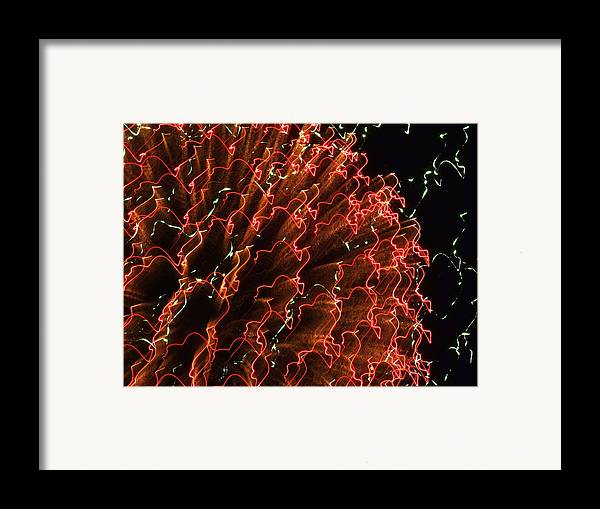 Fireworks Framed Print featuring the photograph Fireball In The Sky by Karen Wiles