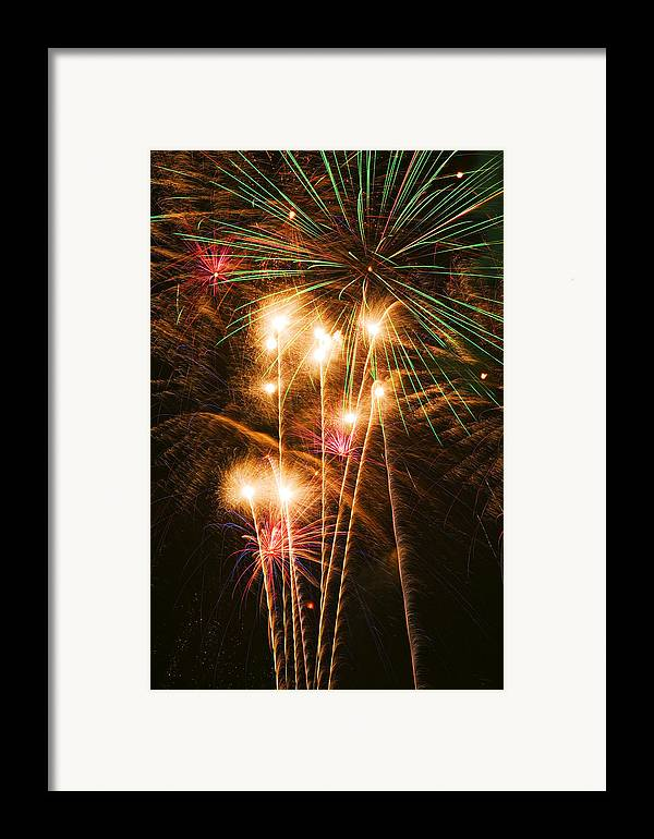 4th Of July Framed Print featuring the photograph Fireworks In Night Sky by Garry Gay