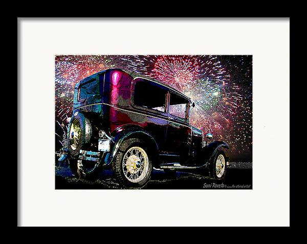 Car Framed Print featuring the painting Fireworks In The Ford by Suni Roveto