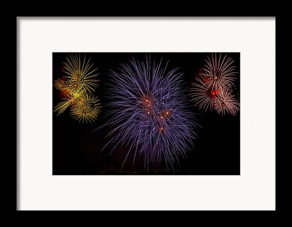 Fireworks Framed Print featuring the photograph Fireworks by Joana Kruse