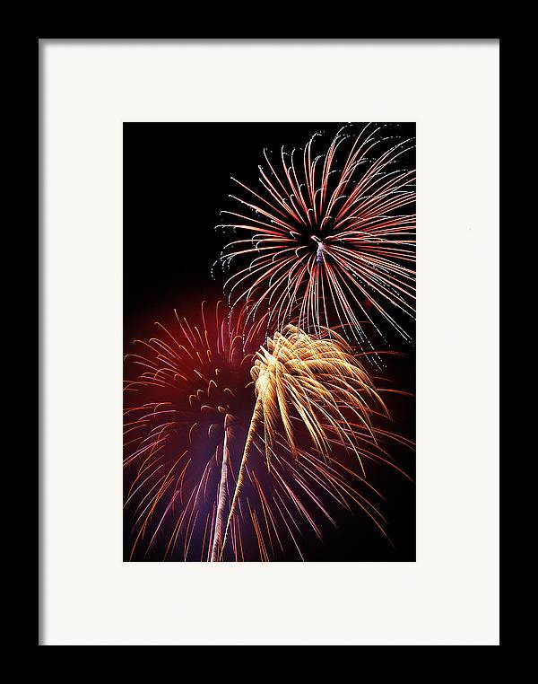 Fireworks Framed Print featuring the photograph Fireworks Wixom 3 by Michael Peychich