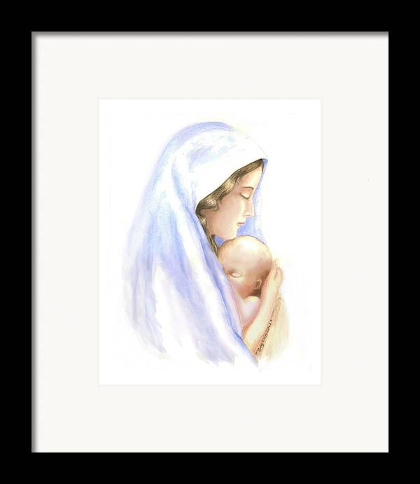 Watercolor Impressionist Portrait Of Mary And Child. Framed Print featuring the painting First Born by Roberta Roddy