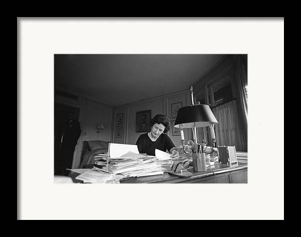 History Framed Print featuring the photograph First Lady, Lady Bird Johnson, Working by Everett