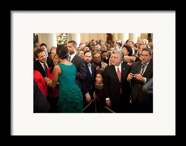History Framed Print featuring the photograph First Lady Michelle Obama Greets Guests by Everett