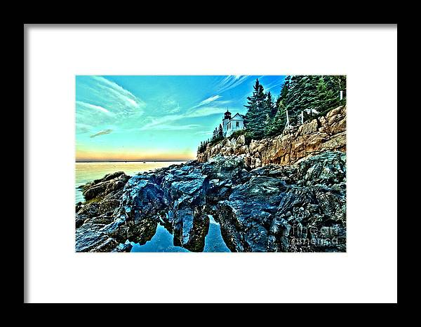 Bass Harbor Light Framed Print featuring the photograph First Light At Bass Harbor by Adam Jewell