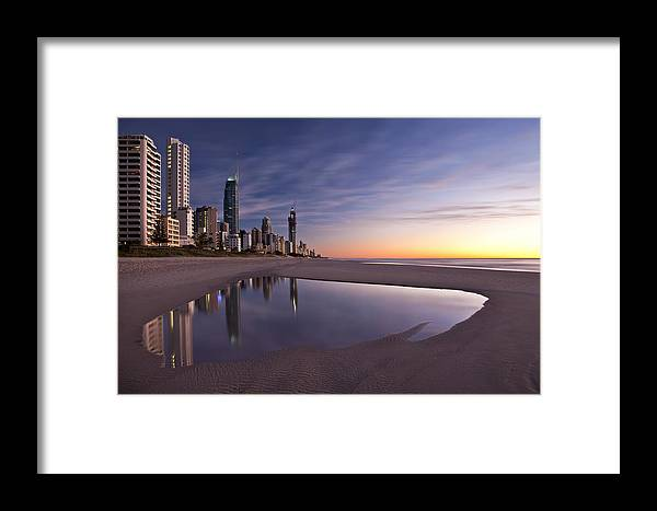 Surfers Paradise Framed Print featuring the photograph First Light by Renee Doyle