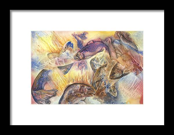 Fish Framed Print featuring the painting Fish Abstract by Kay Johnson