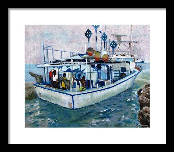 Fishing;boat;water;vacation;recreation;fishermen;aquatic;boat Painting;fishing Painting; Framed Print featuring the painting Fishermen by Howard Stroman