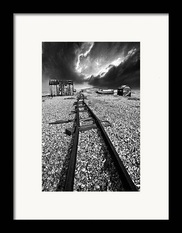 Black And White Framed Print featuring the photograph Fishing Boat Graveyard 6 by Meirion Matthias