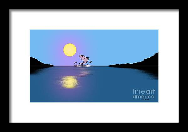 Fish Framed Print featuring the painting Fishy Sunrise by George Pedro