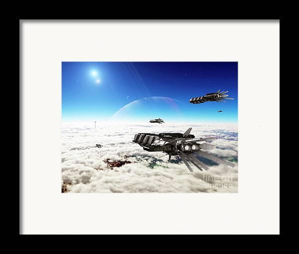 Artwork Framed Print featuring the digital art Five Medium Freighters Deccelerate by Brian Christensen